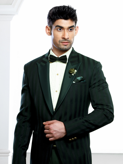 GREEN WITH BLACK LINING TUXEDO SUIT