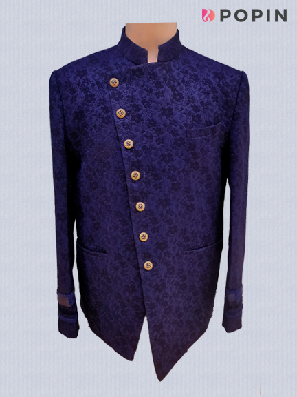 BLUE PRINTED JODHPURI SUIT WITH ATTACH STALL