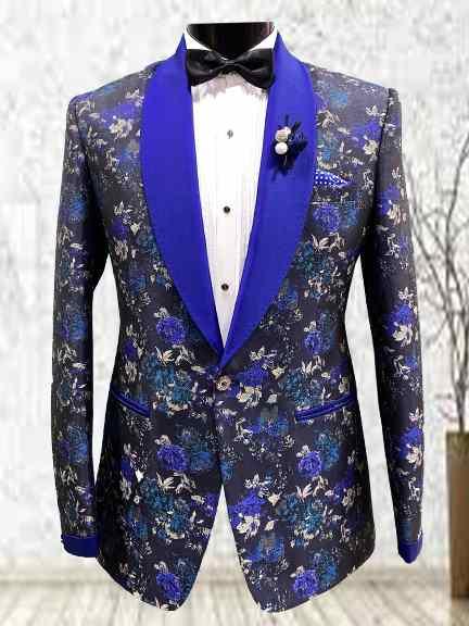 ROYAL BLUE PRINTED TUXEDO SUIT
