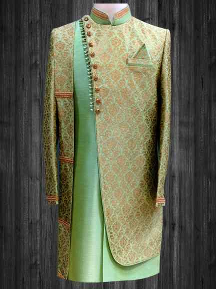 PISTA GREEN ONE SIDE EMBROIDERED INDO WESTERN