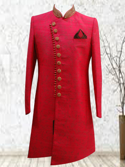 RED PRINTED INDO WESTERN