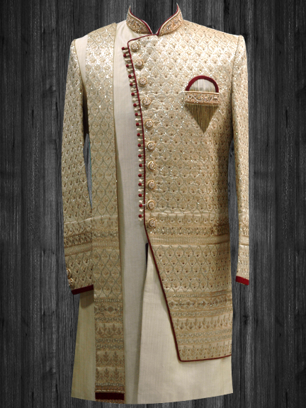 GOLD SELF EMBROIDERED INDO WESTERN