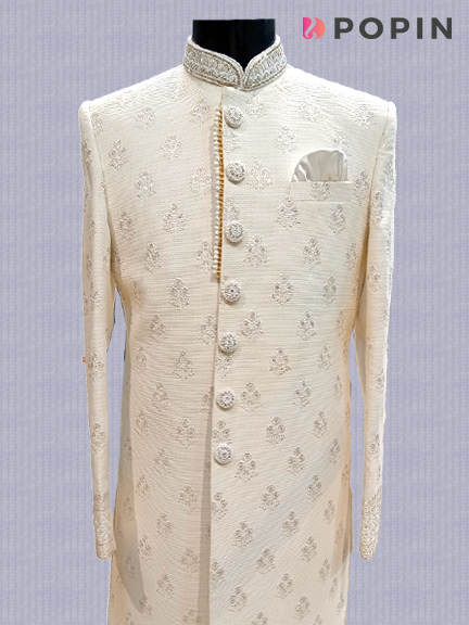 WHITE ALL OVER EMBROIDERED INDO WESTERN