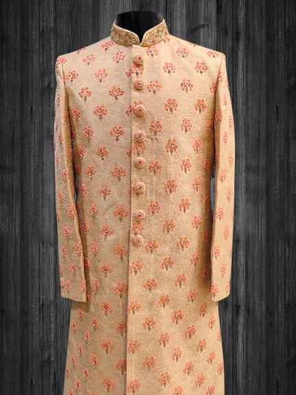 GOLD ALL OVER EMBROIDERED  SHERWANI