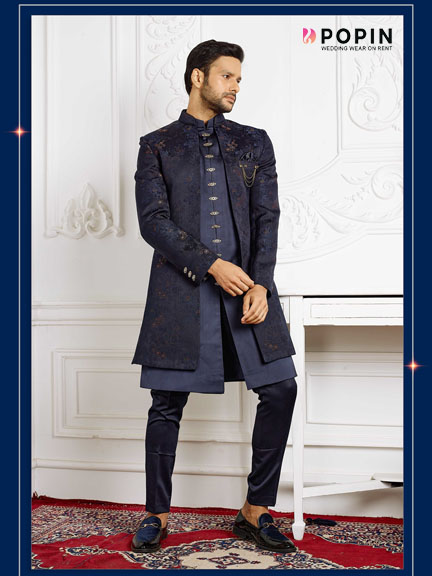 PEACH ALL OVER EMBROIDERED SHERWANI