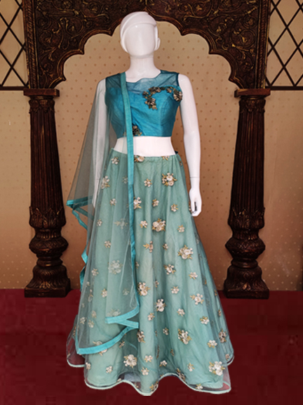 AQUE GREEN CROP TOP  CHANIYA CHOLY