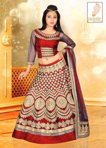 RED CHANIA CHOLI GOLD WORK