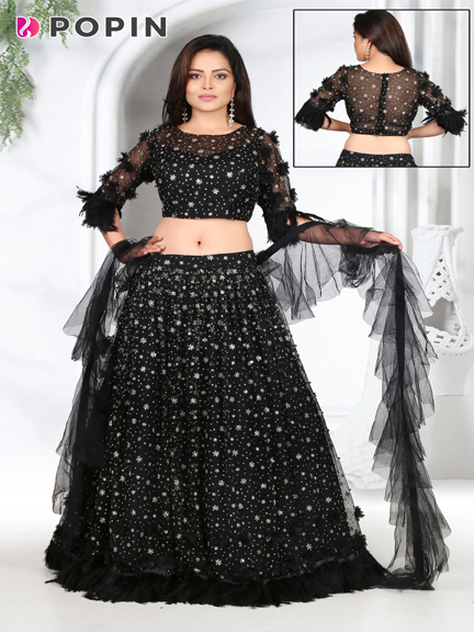 BLACK EMBROIDERED FRILL CHANIYA CHOLY