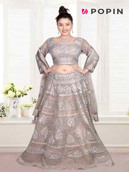 STILL GRAY CHANIA CHOLI WITH HAND WORK