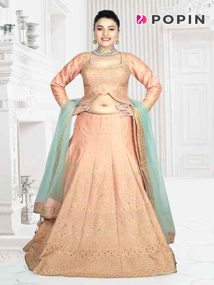 PEACH  SELF WORK  CHANIA CHOLI WITH L. GREEN DUPPATA