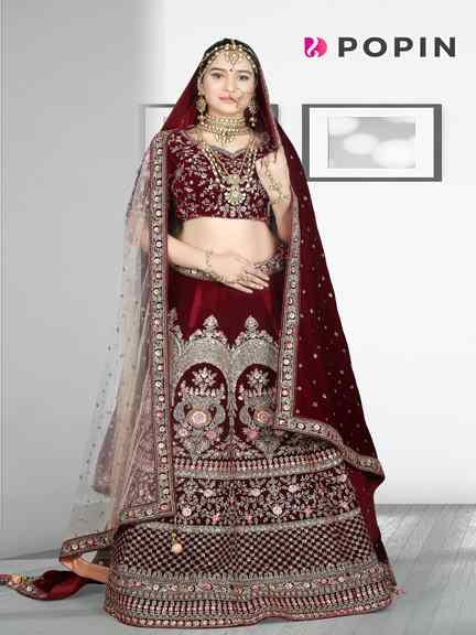 MARUN HEAVY HAND WORK BRIDAL WEAR WITH 2 DUPPATA