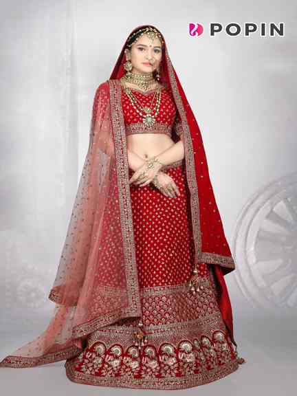 RED HAND WORK BRIDAL CHANIA CHOLI WITH 2