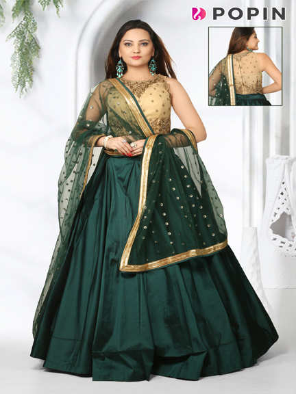 BOTTLEGREEN CHANIYA WITH GOLD EMBROIDERED CHOLY