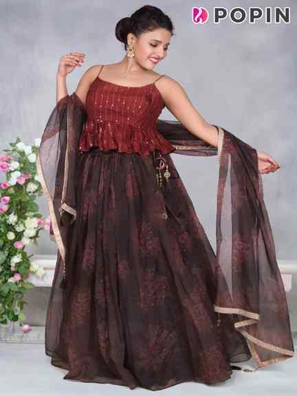 BROWN PRINTED CHANIYA WITH FANCY CHOLI