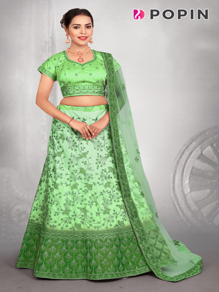 PISTA GREEN  CHANIYA WITH BROWN EMBROIDERD