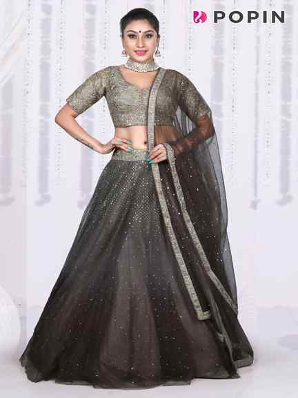 GREY  CHANIYA GREY EMBROIDERED CHOLI