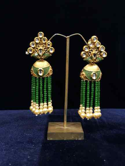 GOLD WITH GREEN MOTI EARINGS