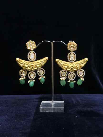 GOLD WITH GREEN BEATS EARING