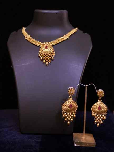 GOLD WITH RANI PINK SET