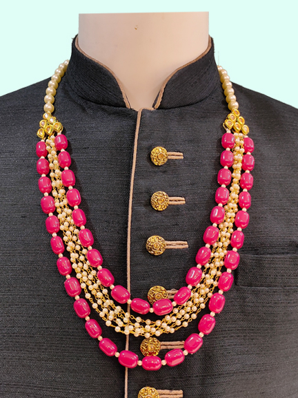 SGOLD WITH PINK MOTI MALA