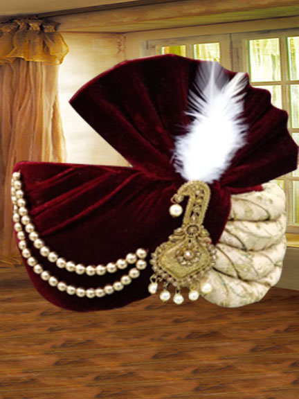 GOLD EMBROIDERED WITH MARUN VELVET SAFA