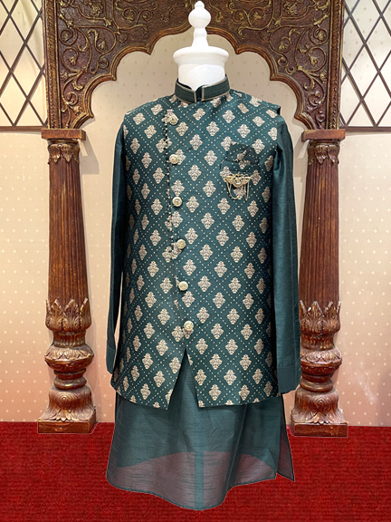 BLUE KURTA WITH PRINTED JACKET