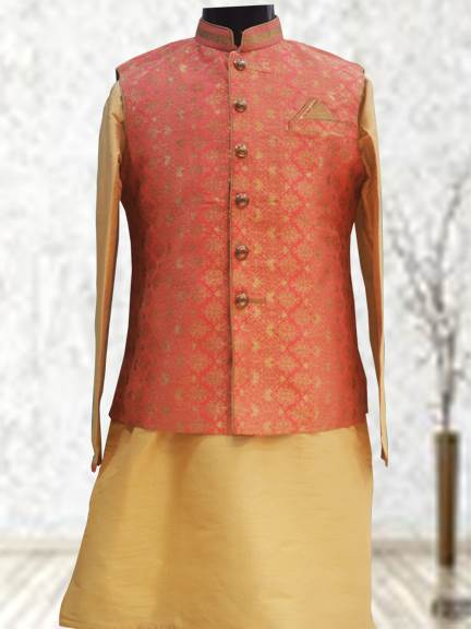 GOLD KURTA WITH PINK PRINTED INDO WESTERN