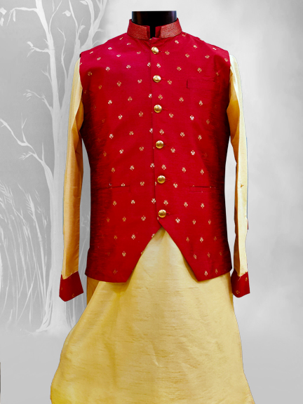 GOLD KURTA WITH RED PRINTED INDO WESTERN