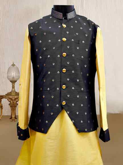 GOLD KURTA WITH BLACK PRINTED JACKET
