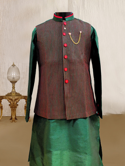 BOTTAL GREEN KURTA WITH STIP JACKET