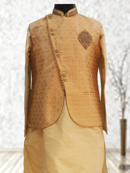 COPPER KURTA WITH COPPER PRINTED JACKET