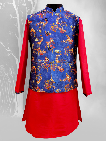 RED KURTA WITH BLUE FLORAL JACKET