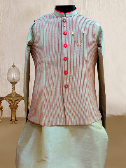 PESTEL GREEN KURTA WITH SPINTEX JACKET