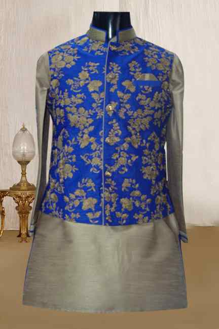 COPPER KURTA WITH BLUE EMBROIDERED JACKET