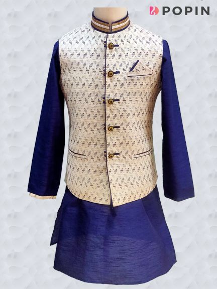 WHITE KURTA BLUE JKT