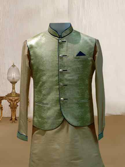 LIGHT GOLD KURTA WITH PEROT GREEN JACKET