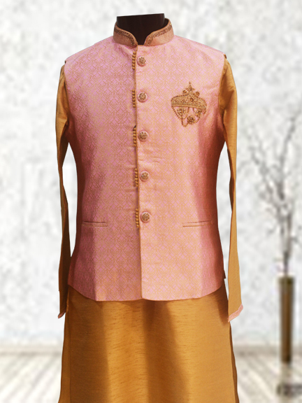 COPPER KURTA WITH PINK PRINTED JACKT