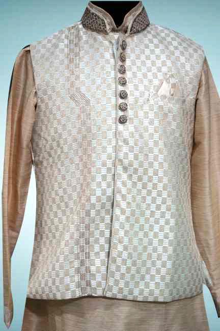 CREAM KURTA WITH KHADI FINISH JACKET
