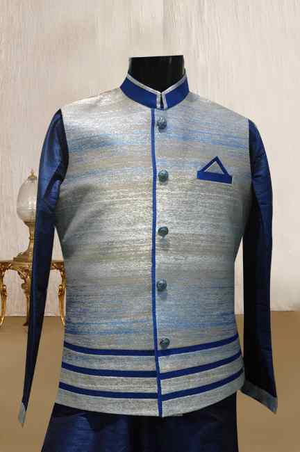 BLUE KURTA WITH SHEDED JACKET