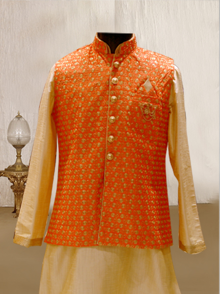 GOLD KURTA WITH PEACH EMBROIDERED JACKET