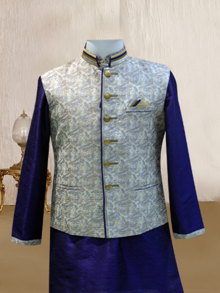 PURPLE KURTA WITH CREAM PRINTED JACKET