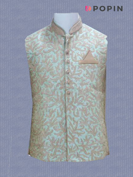 L.GOLD KURTA WITH PISTA WORK JKT