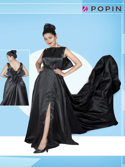BLACK PRE WEDDING GOWN WITH TRAIL
