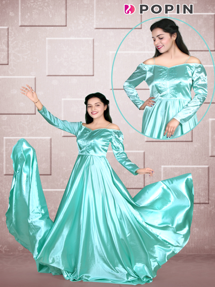 SEA GREEN PRE SHOOT TAIL GOWN