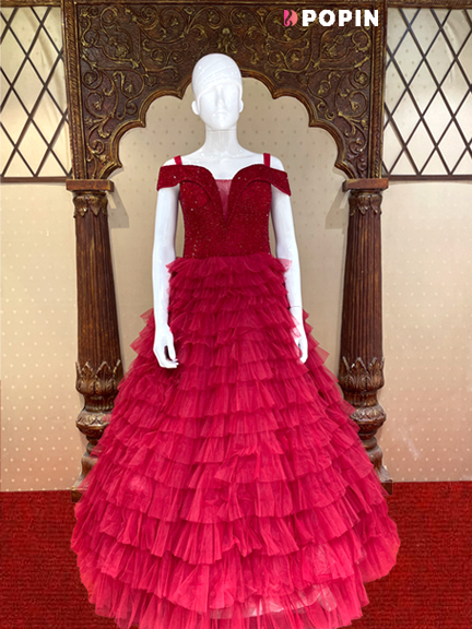 PINK NET WEDDING GOWN