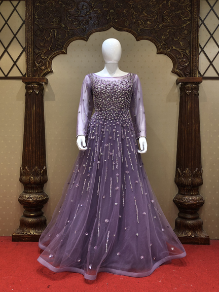 PURPLE HEAVY EMBROIDERED GOWN