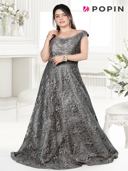 GREY SALI EMBROIDERED WEDDING GOWN