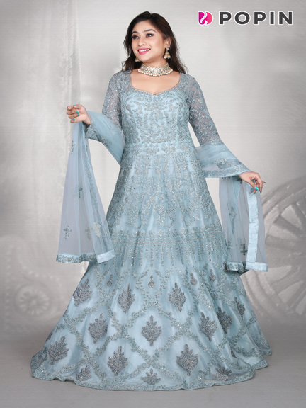 SKY BLUE EMBROIDERED WEDDING GOWN
