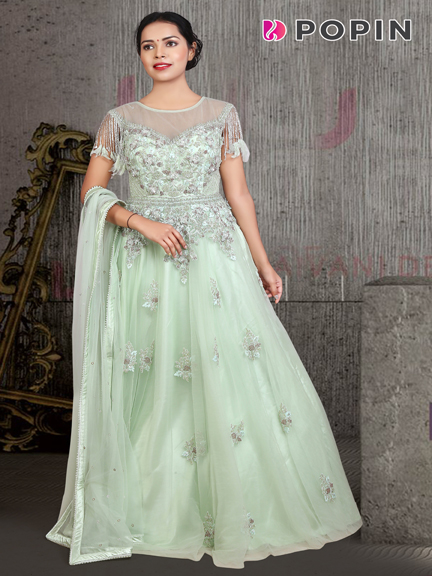 PISTA GREEN EMBROIDERED WEDDING GOWN