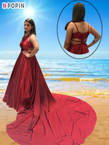 RED PRE-WEDDING TRAIL GOWN